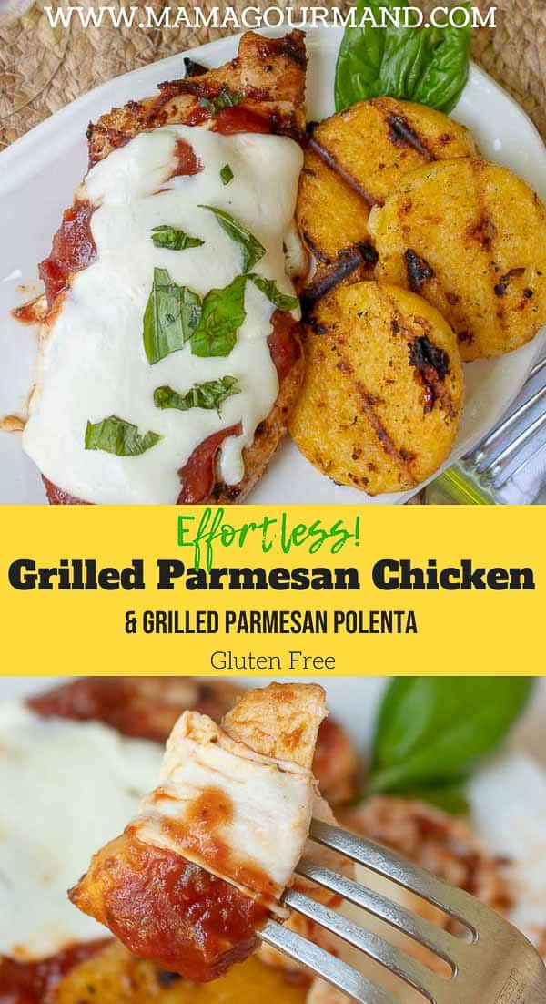 Grilled Parmesan Chicken tastes just as heavenly and comforting as traditional parmesan chicken, but without the extra calories and effort. This easy summer recipe makes grilled parmesan polenta along with it for a whole meal in one! #easy #lowcarb #glutenfree #grilled #parmesan https://www.mamagourmand.com