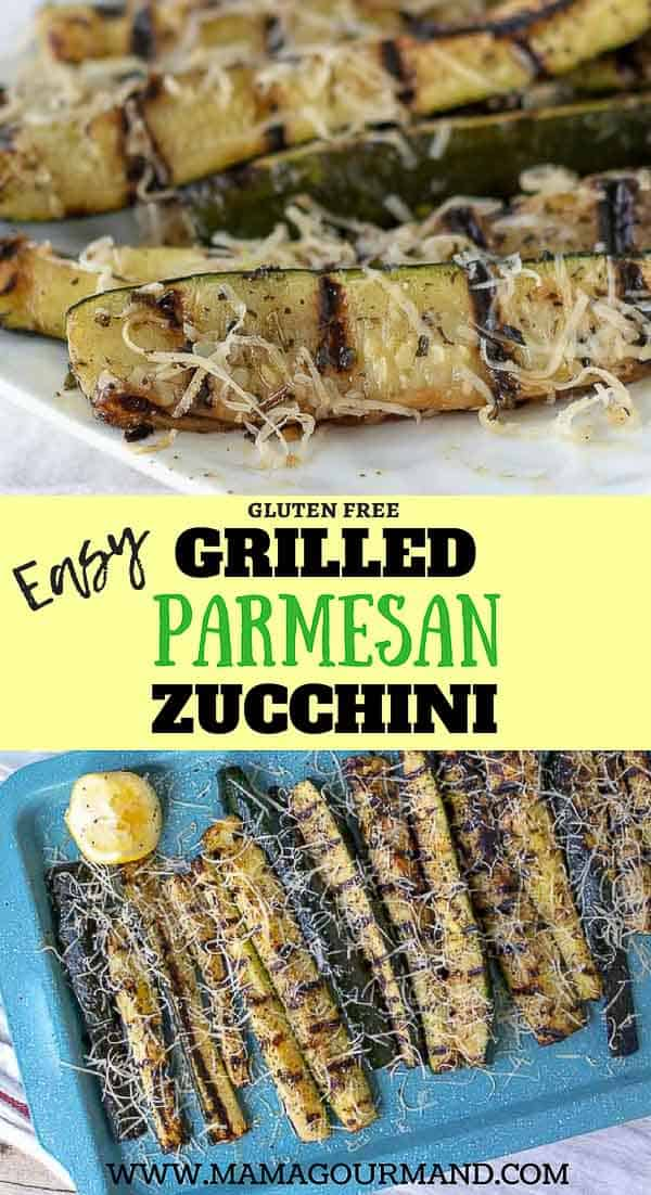 Best Grilled Zucchini uses a handful of staple kitchen ingredients for a marinade, cooks on the grill in minutes, and is topped with fresh lemon and parmesan. This easy summer recipe also includes directions on how to adapt for oven roasting as well. #easy #parmesan #recipe #squash https://www.mamagourmand.com