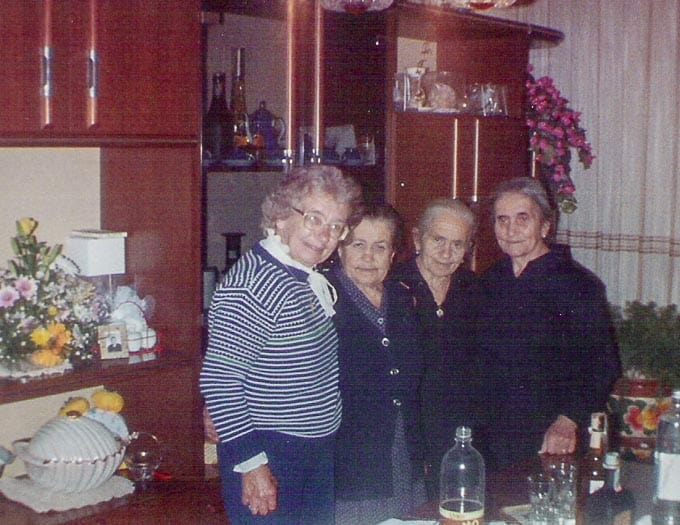 Gramma with her sisters on one of her visits back