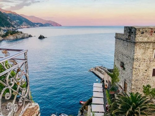 view from a balcony in Cinque Terre, Italy