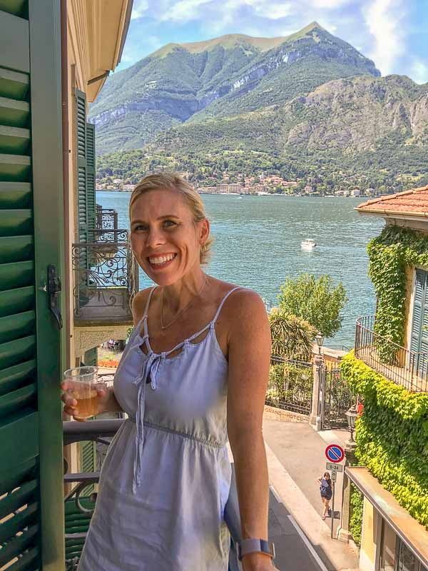me on balcony in Bellagio overlooking Lake Como