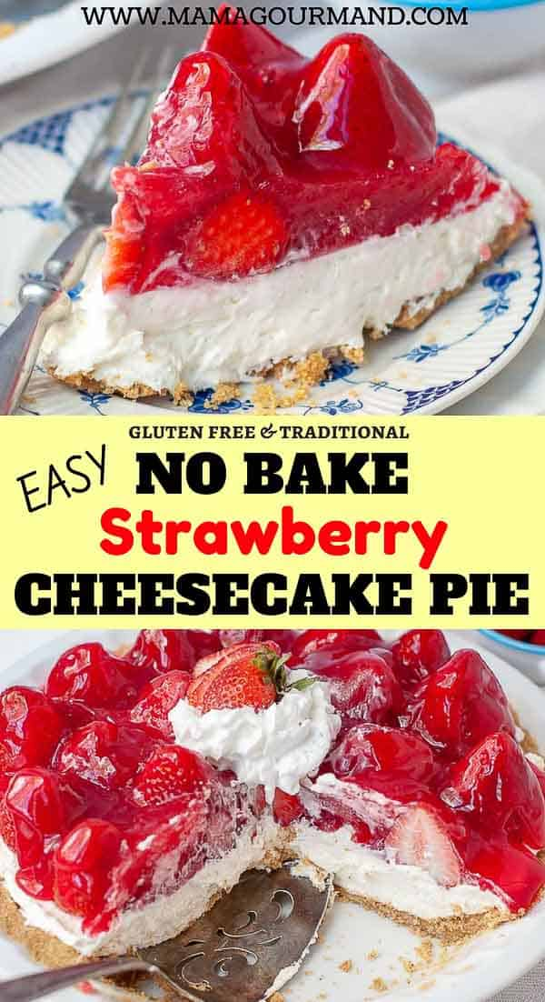 No Bake Strawberry Cheesecake is the perfect, easy summer dessert. A simply made graham cracker crust filled with creamy, no bake cheesecake, and topped off with fresh strawberries smothered in cool, sweet gelatin is guaranteed to be a hit! #easy #nobake #strawberry #cheesecake #glutenfree https://www.mamagourmand.com