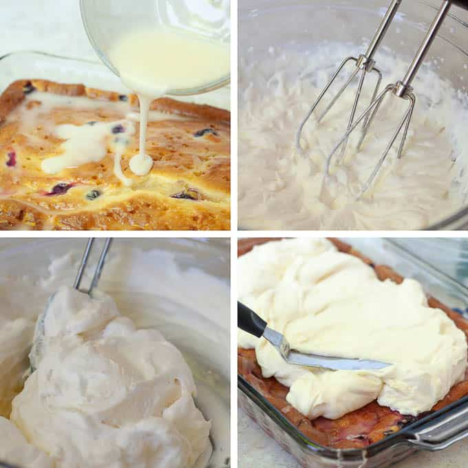 collage of pictures showing steps of how to make lemon blueberry cake
