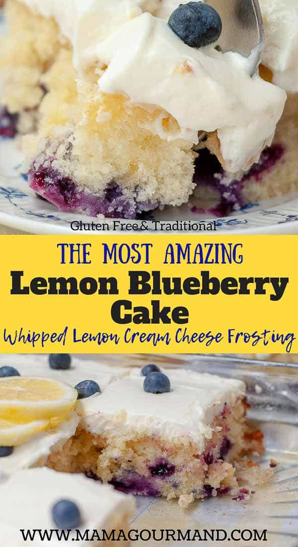 The BESTLemon Blueberry Cake recipe out there! A lemon glaze drizzle is soaked into a fluffy lemon blueberry cake with whipped cream cheese frosting on top. #lemon #blueberry #easy #fromscratch #box #creamcheesefrosting https://www.mamagourmand.com
