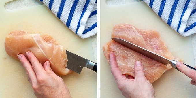 images showing how to cut pocket for stuffed chicken breasts