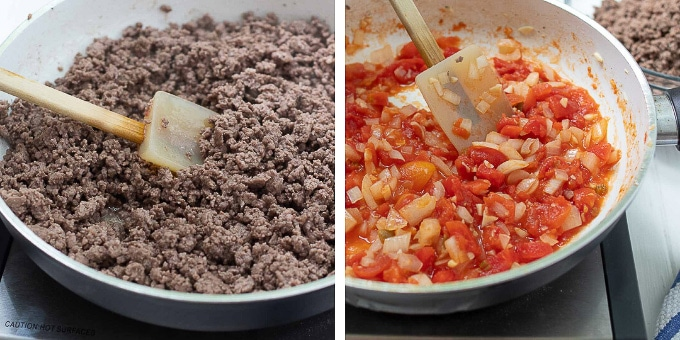 images showing how to make sweet and spicy ground beef tacos
