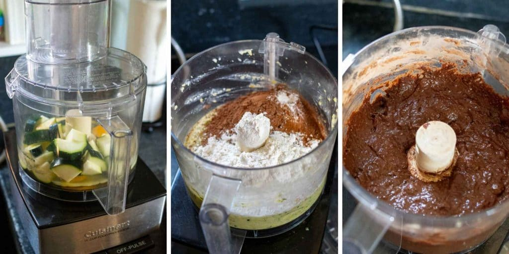 images showing how to make zucchini brownies with frosting