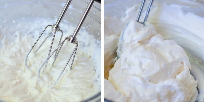 images showing how to make cream cheese frosting for lemon blueberry cake