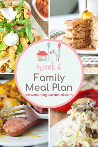 collage of pictures showing weekly meal plan dinners