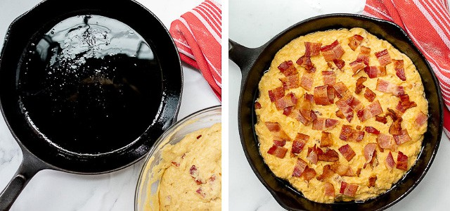 final 2 steps of making bacon cornbread