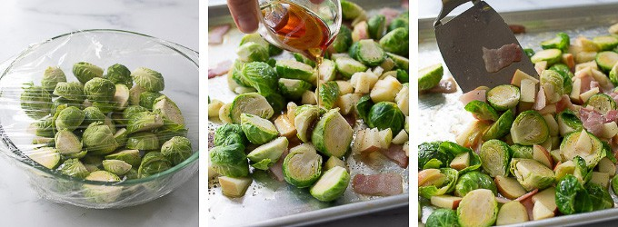 collage showing three steps of making bacon Brussels sprouts