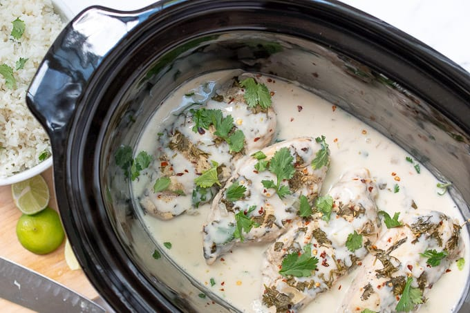 overhead shot of cilantro lime chicken in a crockpot
