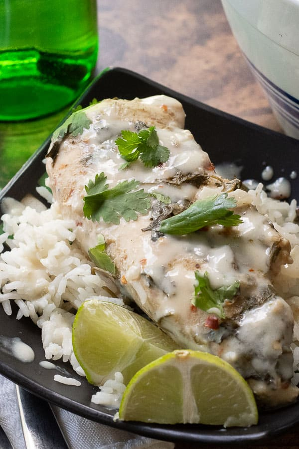 cilantro lime chicken over rice on a black plate