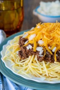 close up shot of a plate of Cincinnati chili