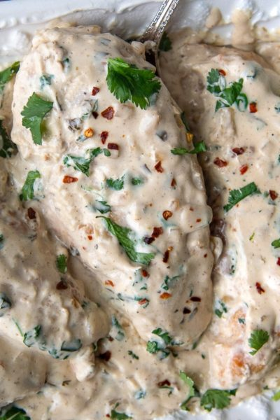 close up of cilantro lime chicken in a creamy sauce