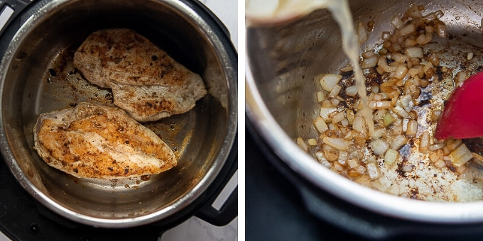 images showing how to make cilantro chicken in an instant pot