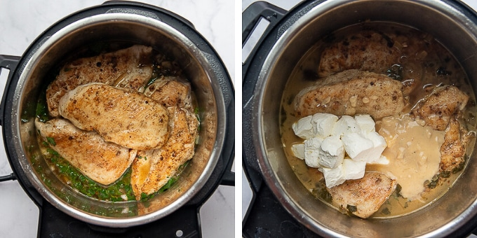 more images showing how to make cilantro chicken in an instant pot