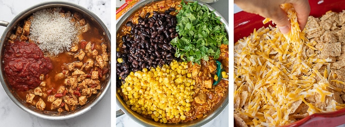 images showing how to make mexican chicken casserole