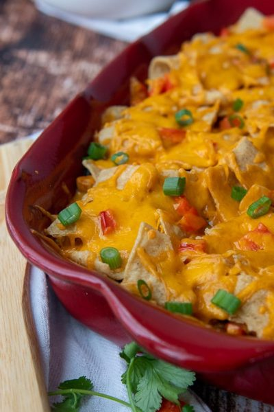 a close up of mexican chicken casserole with melted cheese on top