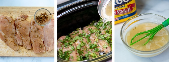 images showing how to make cilantro chicken in a slow cooker