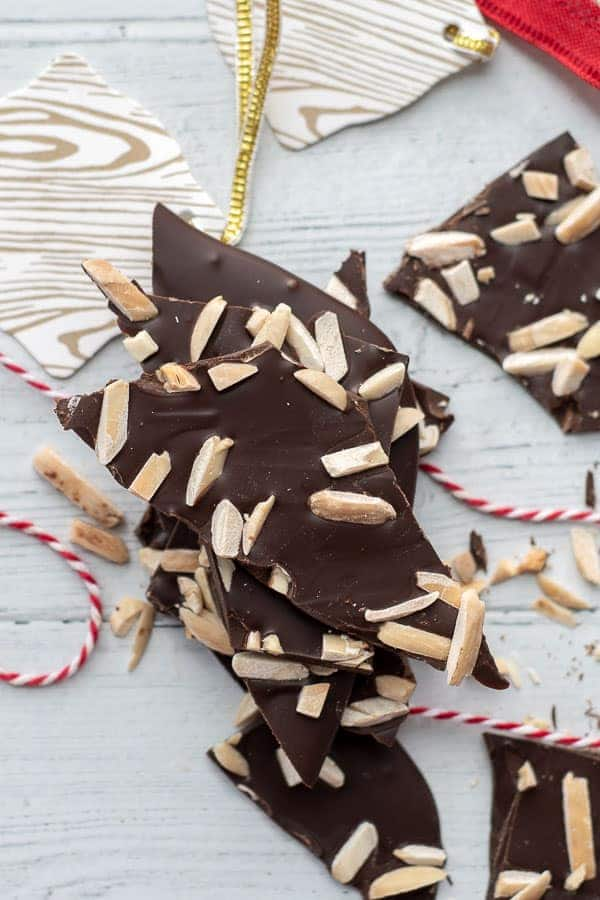 an overhead shot of chocolate almond bark