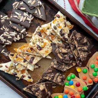 a sheet pan filled with different kinds of homemade chocolate bark