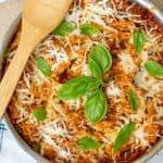 an overhead shot of a pan of skillet lasagna