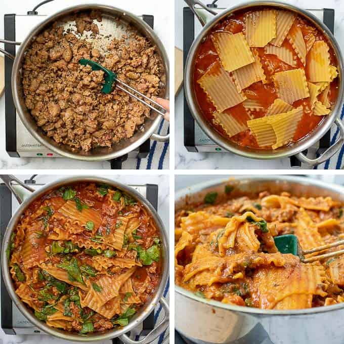 pictures showing how to make skillet lasagna