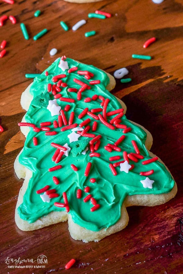a Christmas tree soft sugar cookie cut out