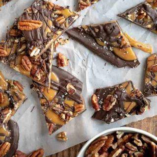 overhead shot of salted caramel chocolate bark on a baking sheet
