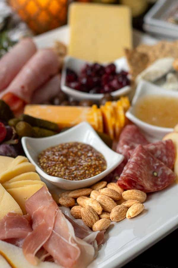 close up shot of charcuterie board