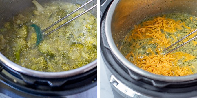 step by step images showing how to make broccoli cheese soup in instant pot