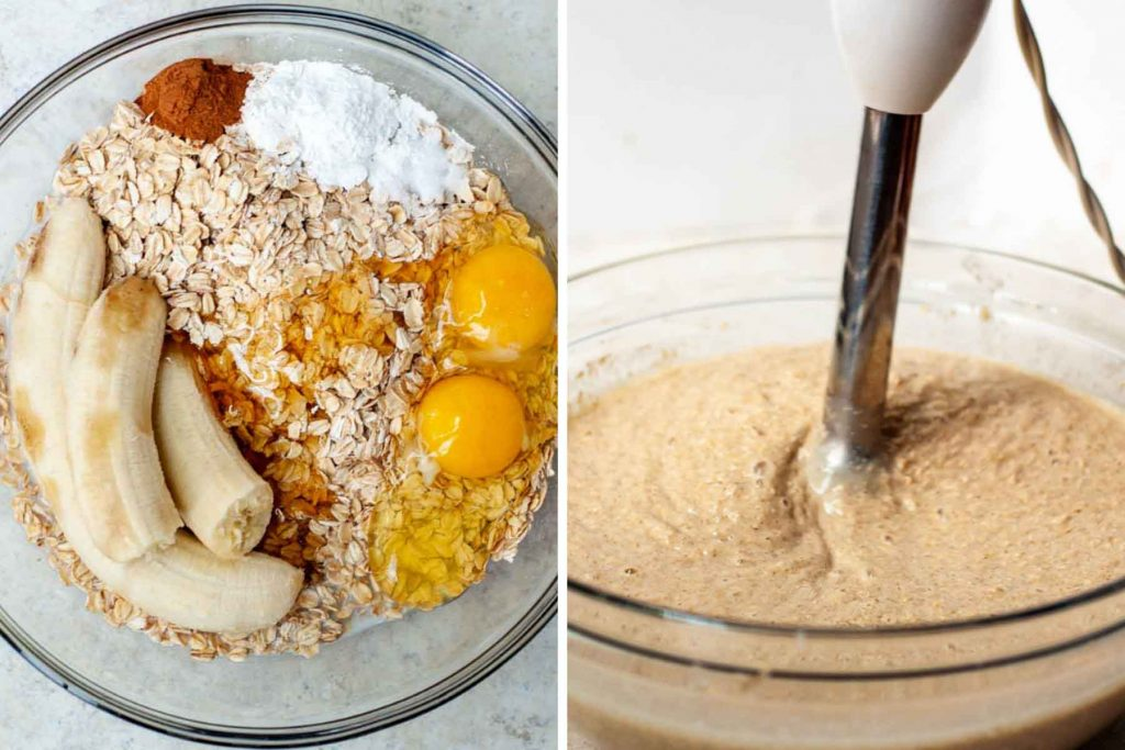 image showing ingredients for flourless pancakes and making them