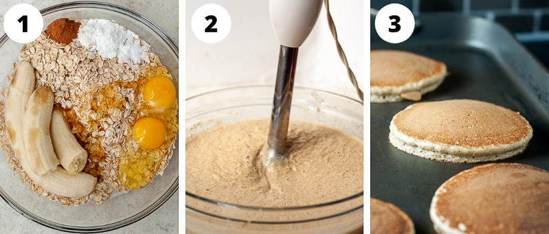 images showing how to make flourless pancakes