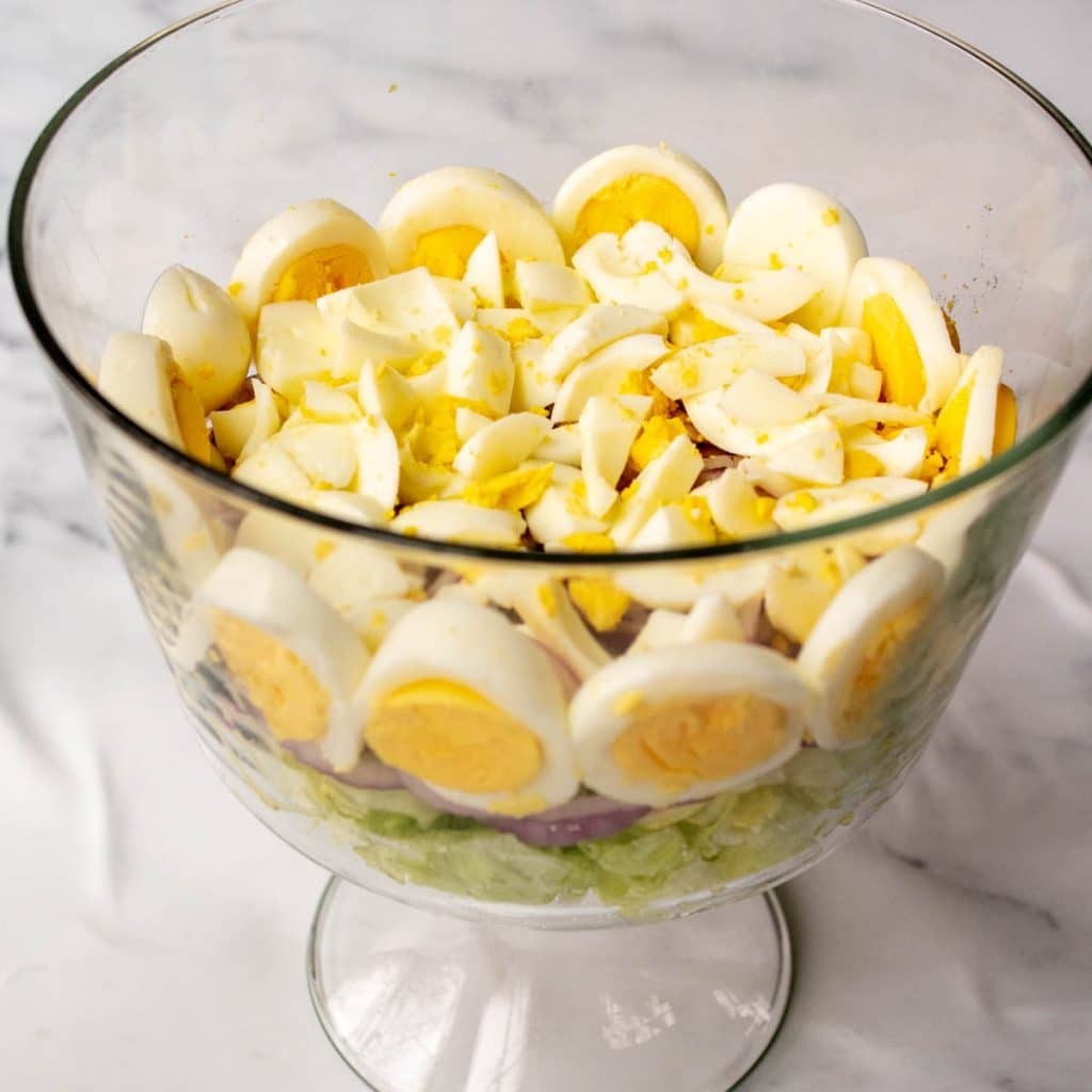 hard boiled eggs chopped in a glass bowl