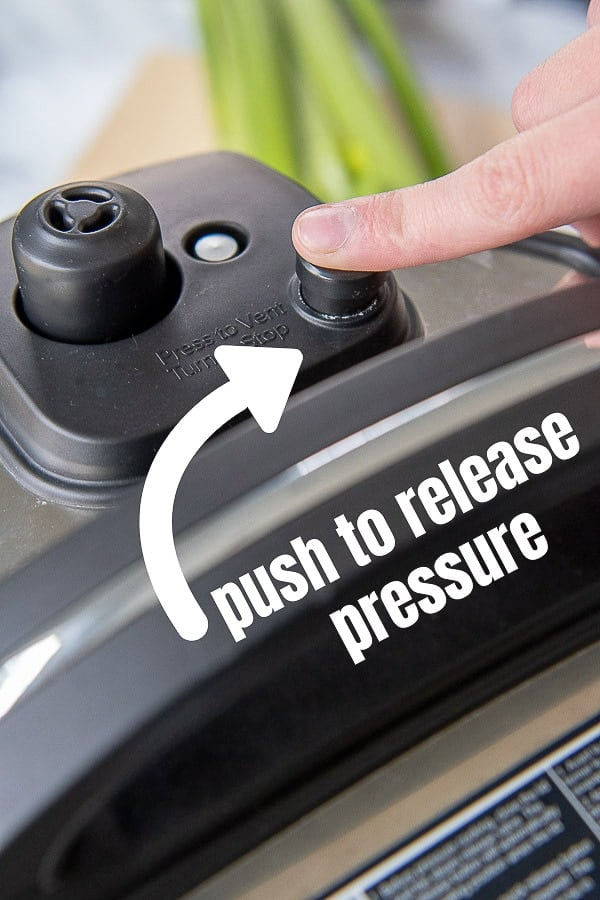 image showing where to press instant pot to release pressure