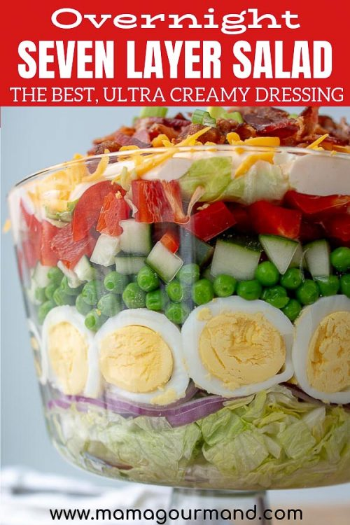 7 Layer Salad | Overnight Layered Salad with Creamy, Tangy