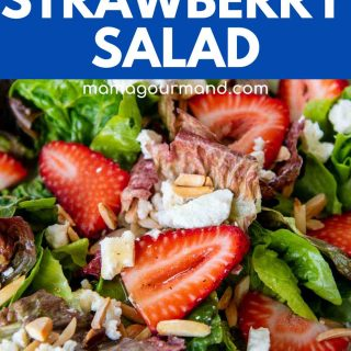 close up of strawberry salad in bowl