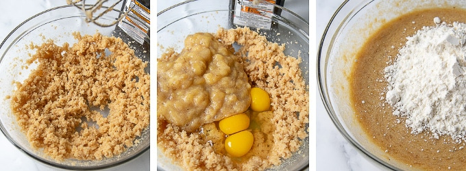 photos showing how to make batter for banana bars
