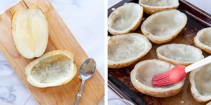 images showing how to prepare potatoes for making potato skins