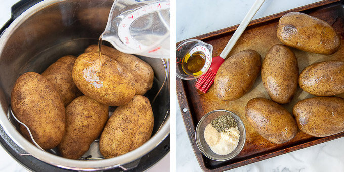 photos showing how to make instant pot baked potatoes step by step