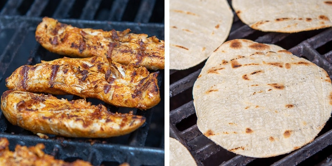 showing how to grill chicken and tortillas