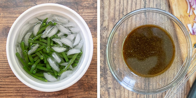 images showing how to blanch beans and make vinaigrette for green bean salad