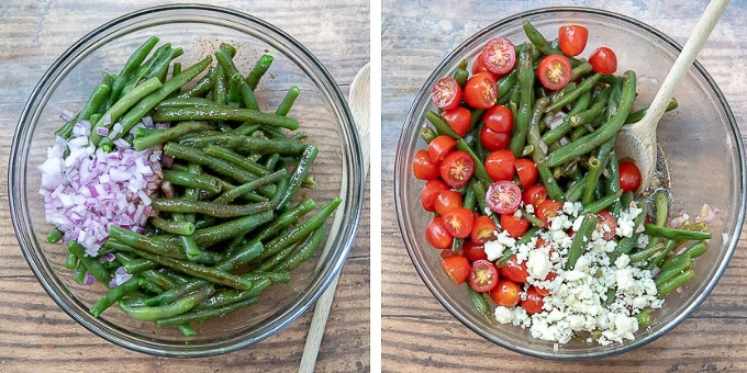 images showing how to make green bean salad with tomatoes