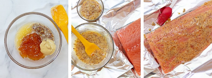 images showing how to make sauce for grilled salmon