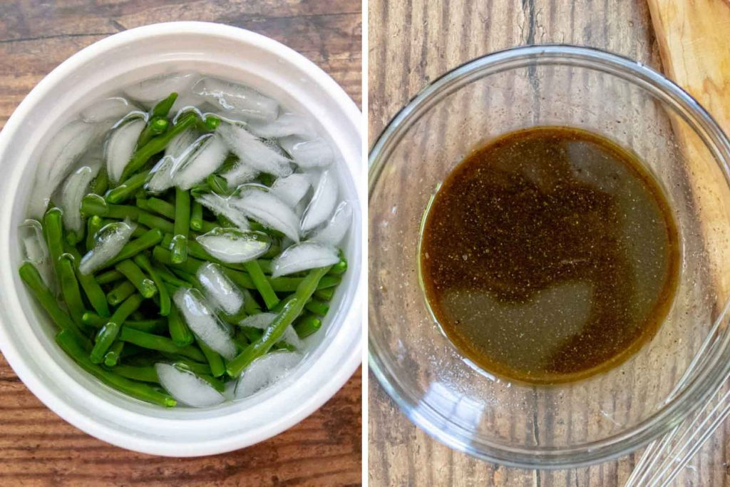 images showing how to blanche beans and make dressing