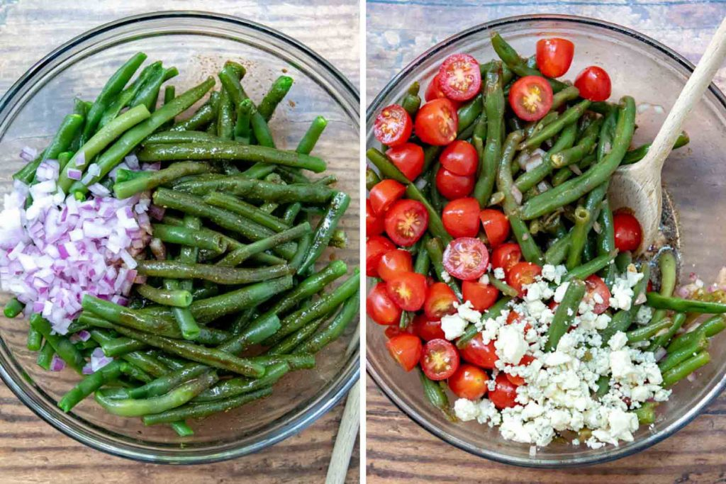 images showing how to make green bean salad