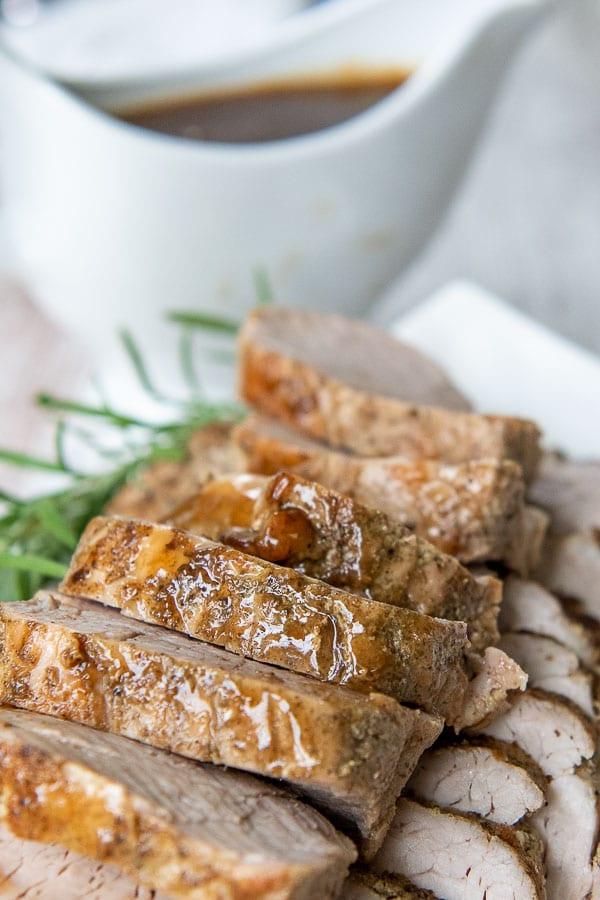 close up of shot of sliced pieces of pork tenderloin
