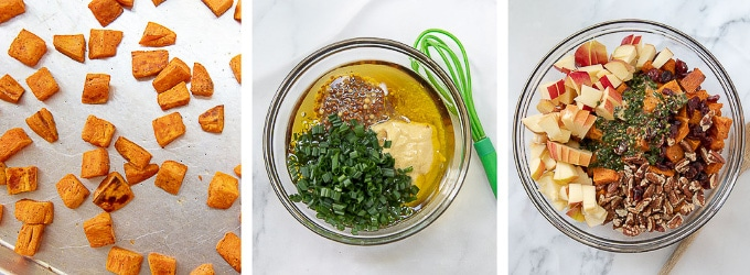 images showing how to make dressing for sweet potato salad