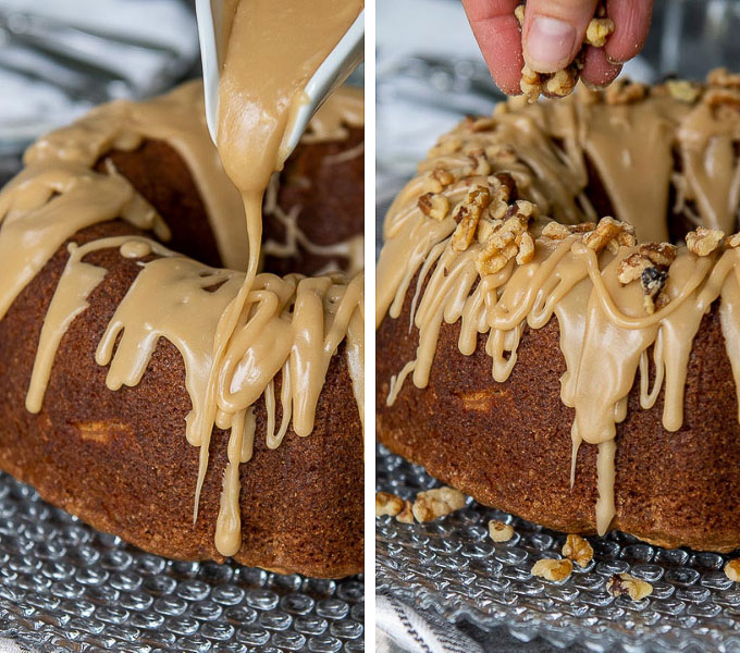 images showing brown sugar praline glaze being poured on and walnuts sprinkled on top